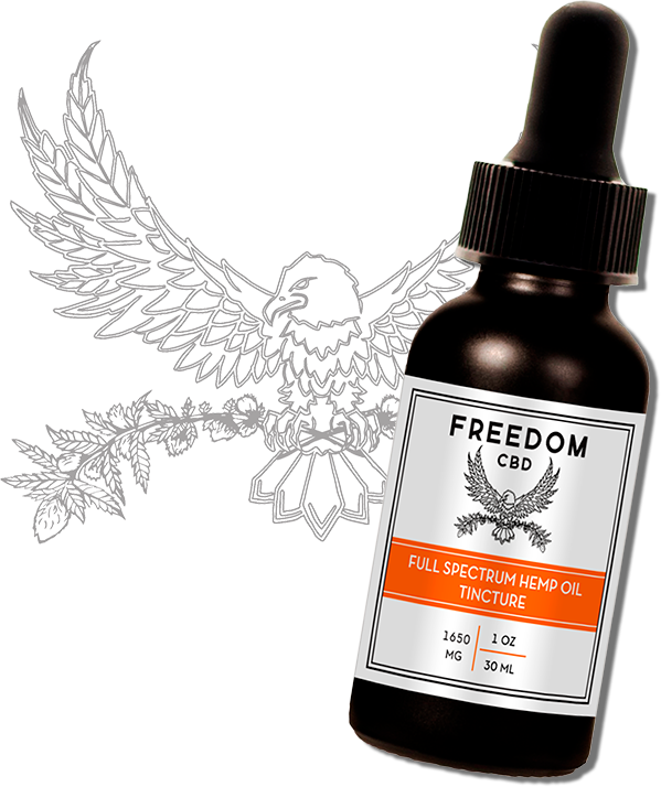 full spectrum tincture bottle with eagle logo in background