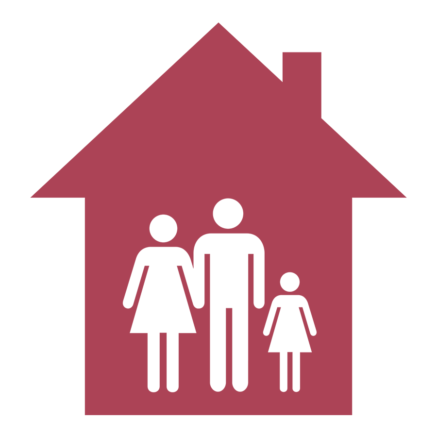 family inside of house icon