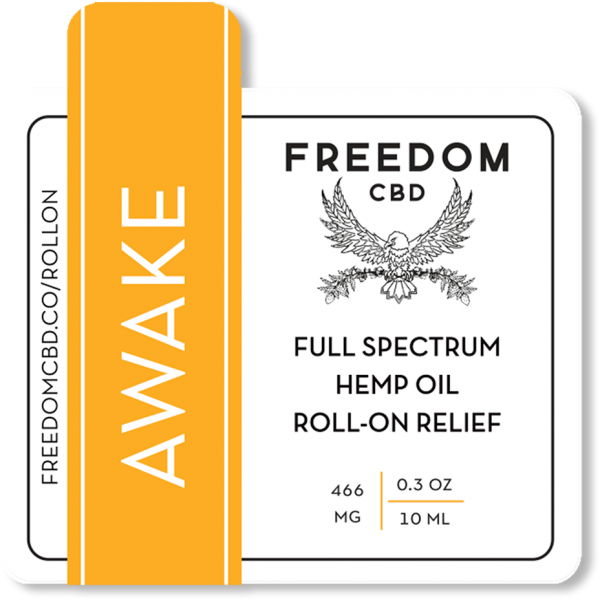Freedom CBD Awake full spectrum hemp oil roll-on relief essential oil roller ball label