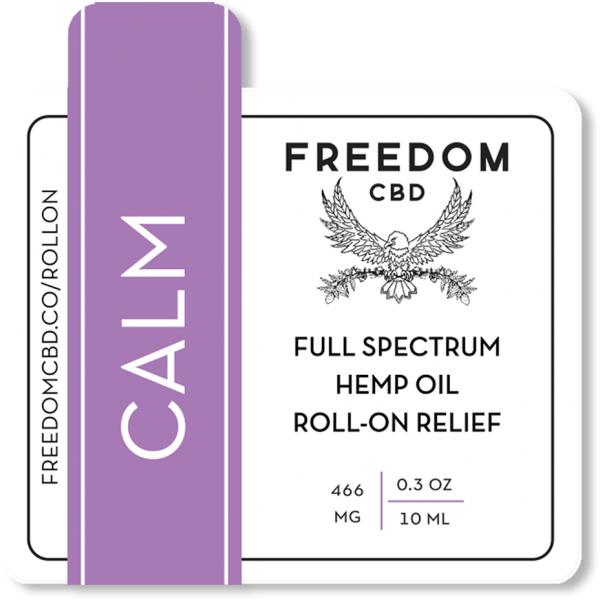 Freedom CBD Calm full spectrum hemp oil roll-on relief essential oil roller ball label