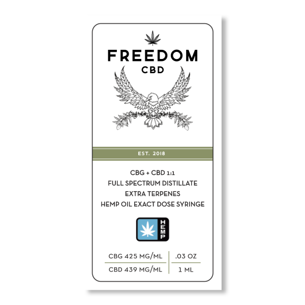 Freedom CBD CBG+CBD 1:1 full spectrum distillate extra terpenes exact dose syringe 1ml label