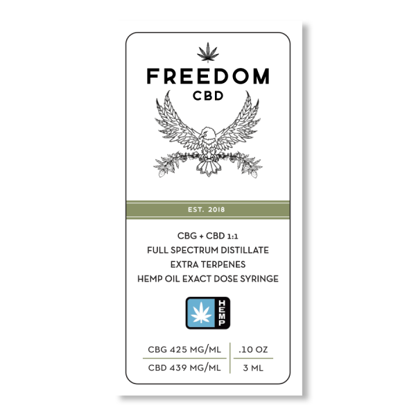 Freedom CBD CBG+CBD 1:1 full spectrum distillate extra terpenes exact dose syringe 3ml label