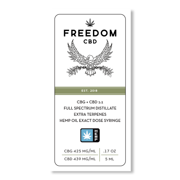Freedom CBD CBG+CBD 1:1 full spectrum distillate extra terpenes exact dose syringe 5ml label