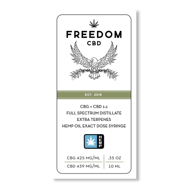 Freedom CBD CBG+CBD 1:1 full spectrum distillate extra terpenes exact dose syringe 10ml label