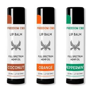 Freedom CBD full spectrum hemp oil lip balm 3-pack